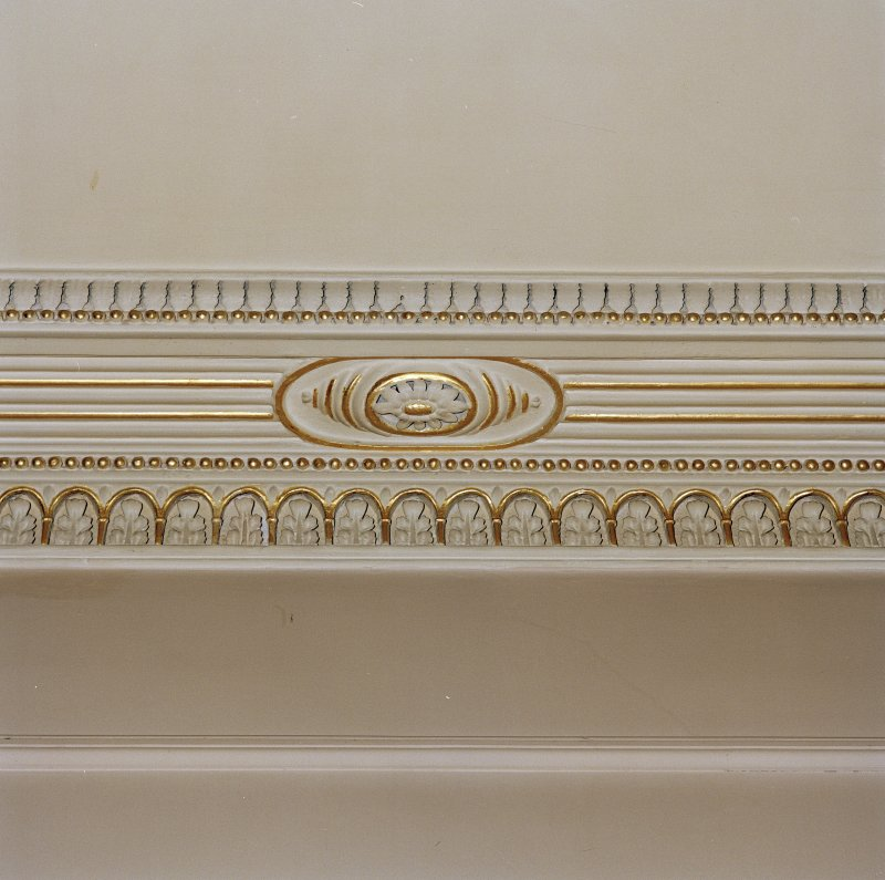 Interior. Detail of dining room cornice