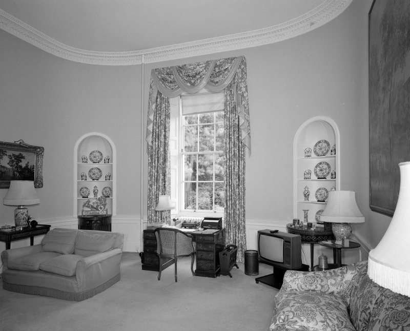 Interior. View of ground floor morning room from WSW showing cina niches in curved walls
