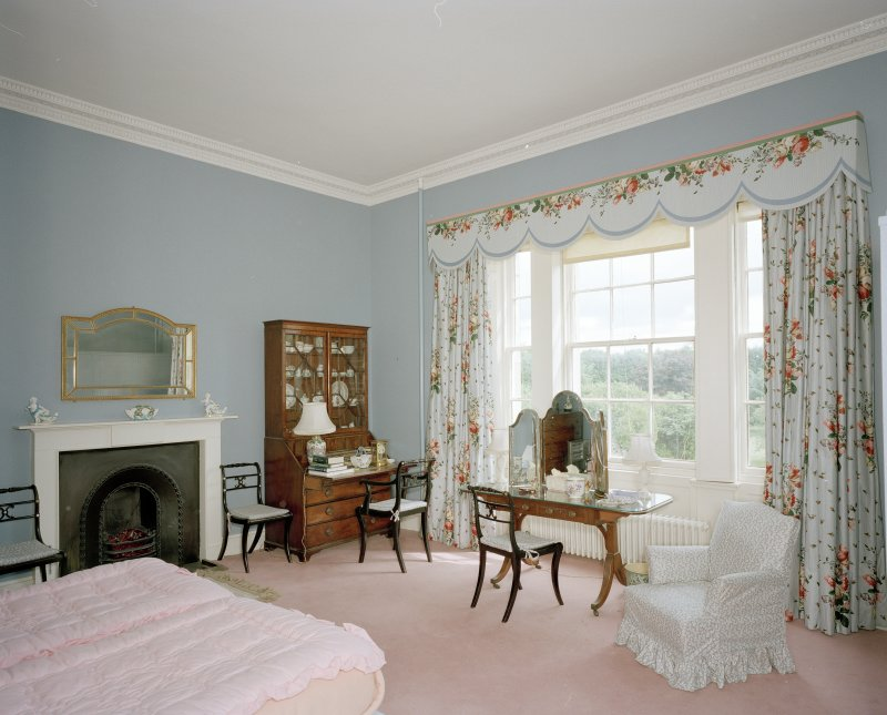 Interior. View of first floor central S bedroom from NW