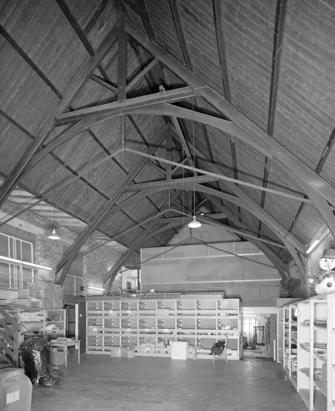 Interior. Main warehouse original sanctuary from NW