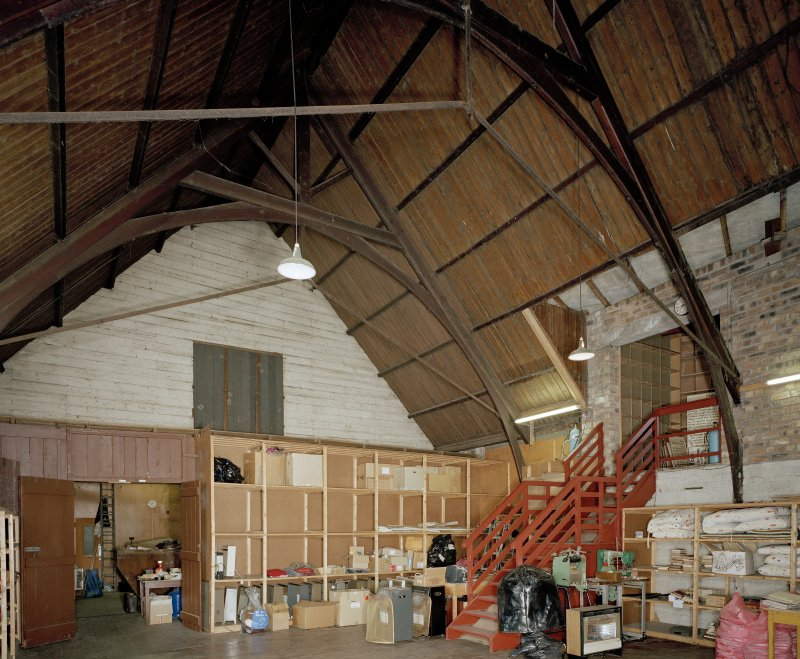 Interior. Main warehouse original sanctuary from SE