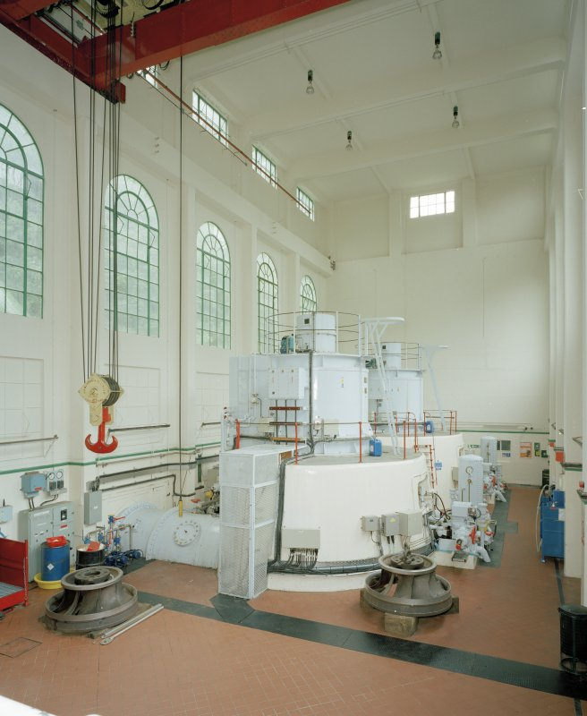 Interior. View of turbine hall from NW