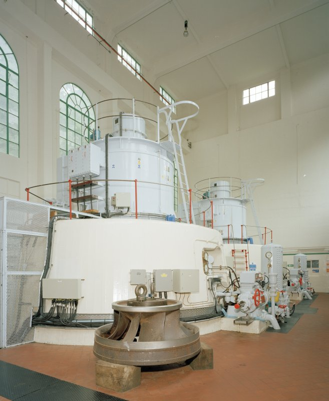 Interior. View of the two turbines from WNW