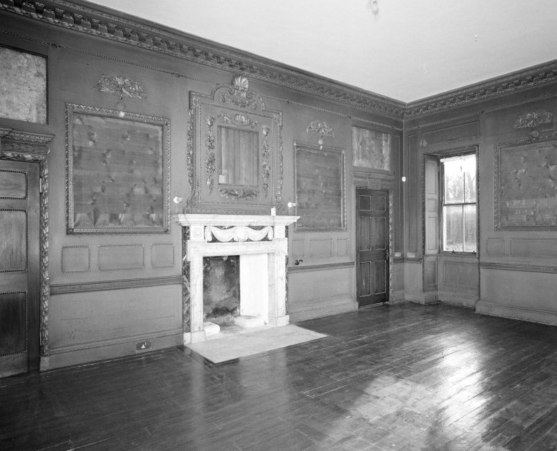 Interior. Principal floor. Dining room. View from N showing fireplace wall