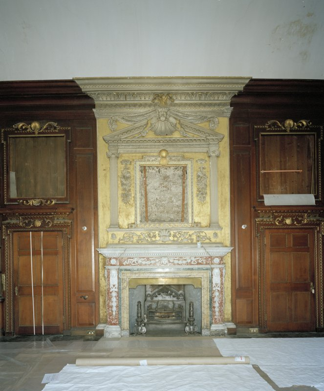 Interior. Principal floor. Library. Detail of chimneypiece and overmantle.
