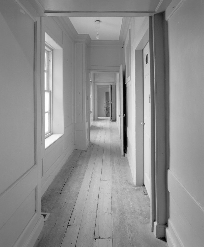 Interior. 1st floor. View of N corridor from NW