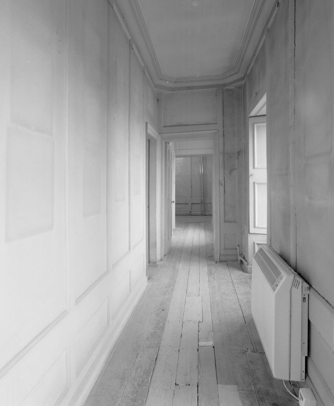 Interior. 1st floor. View of N corridor from SE