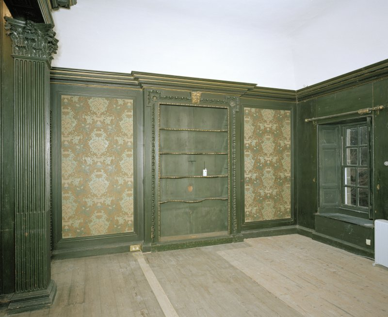 Interior. 1st floor. View of green/grisaille bedroom from S