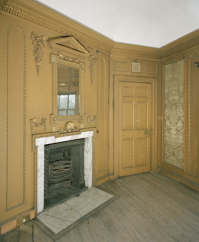 Interior. 1st floor. View of yellow bedroom from SW