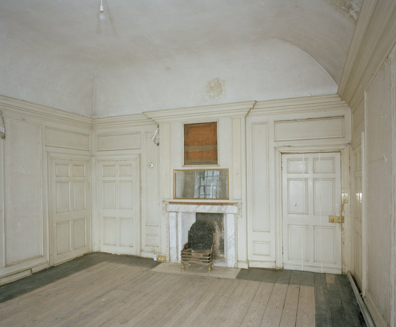 Interior. 1st floor. View of white bedroom from SW