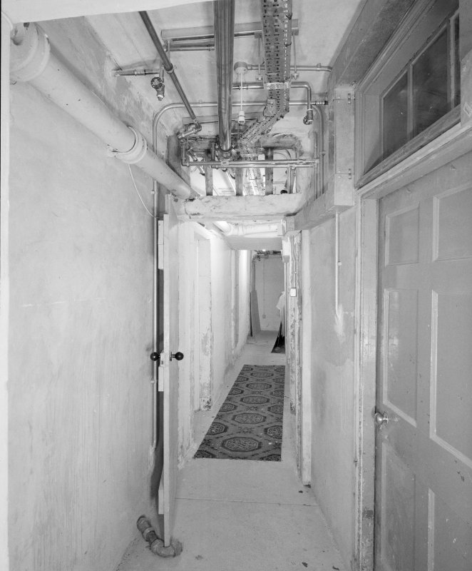Interior. Detail of basement corridor