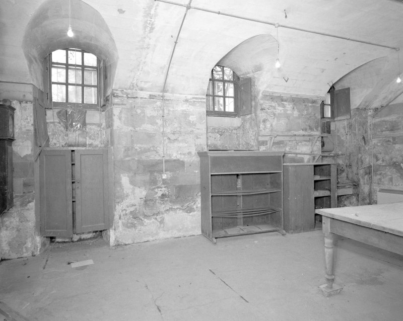 Interior. Basement. View of old kitchen from E