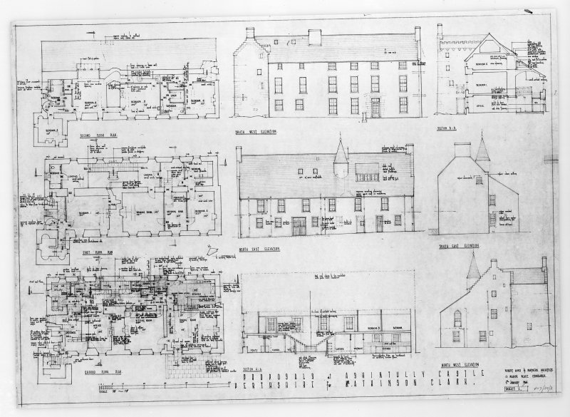 Photographic copy of composite drawing of ground, 1st and 2nd floor plans, sections and South-West and North-West   elevations.