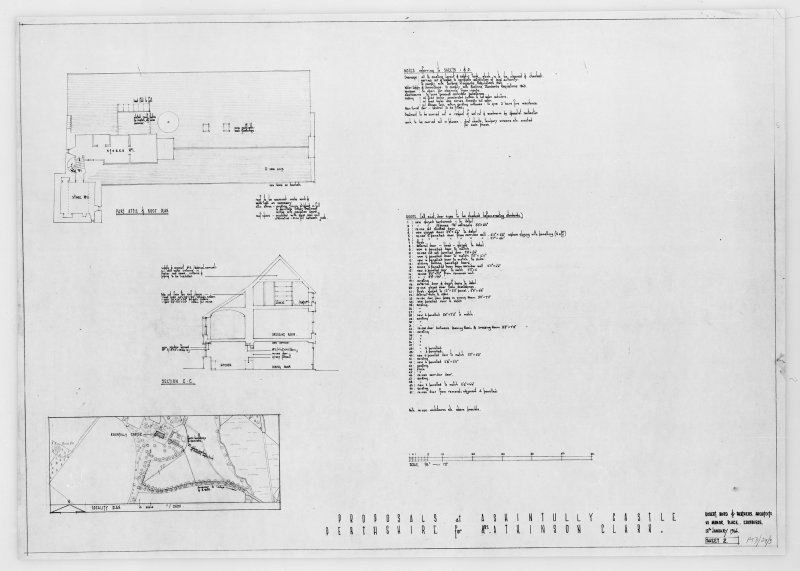 Photographic copy of site plan 1/2500, attic floor plan and section.