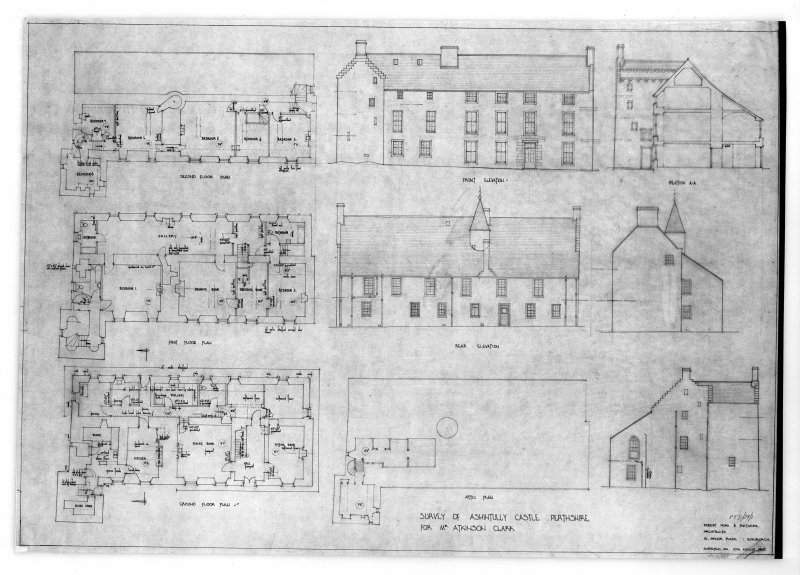 Photographic copy of composite drawing of ground, 1st and 2nd floor plans, attic plan, and front and rear elevations, including measurements.