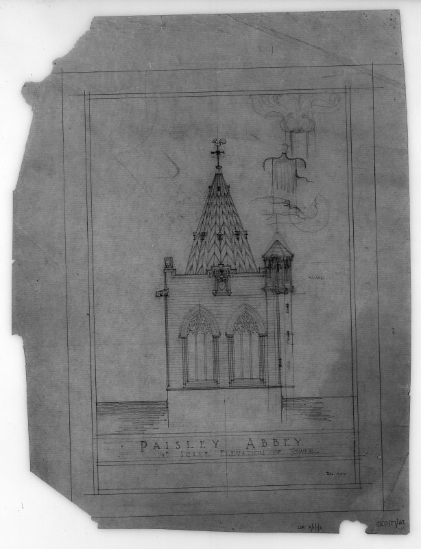 Photographic copy of elevation of tower.
