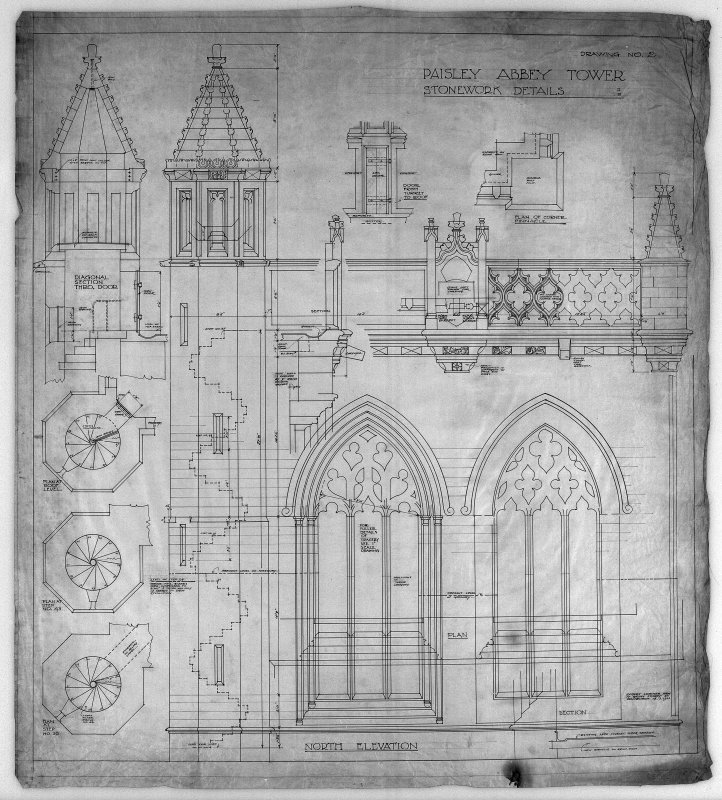 Stonework details of tower, including plans and sections of stairs, Paisley Abbey.
