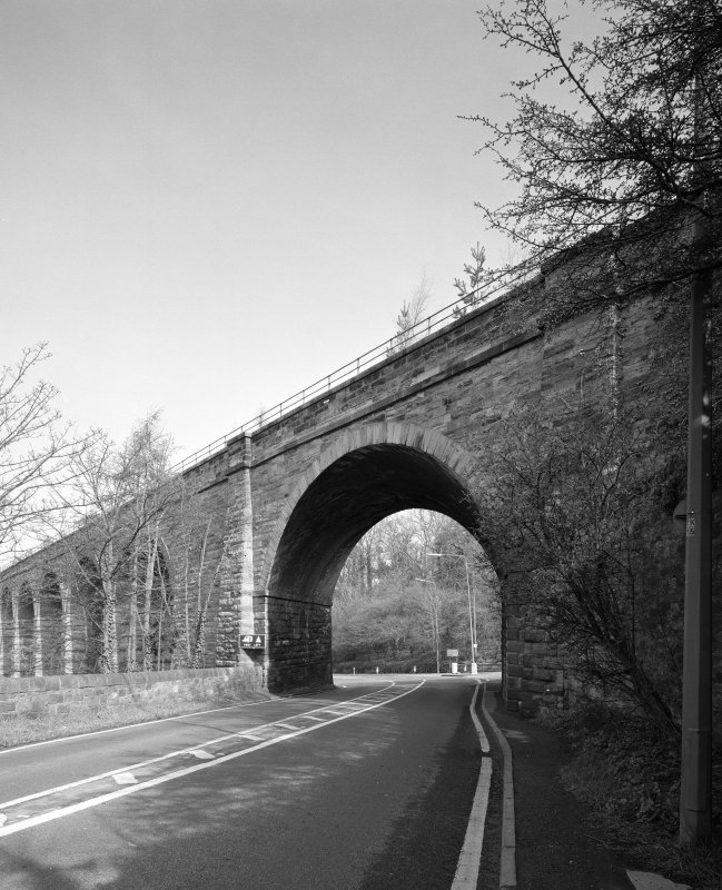 View from S of skewed arch at SE end of the viaduct through which the A7 road passes