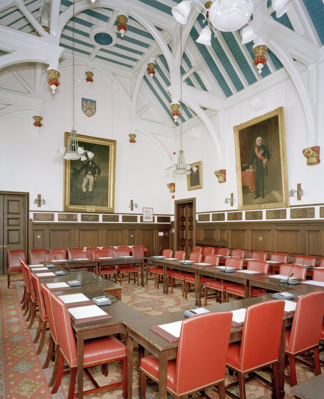 Interior. View of first floor Council Chamber from West