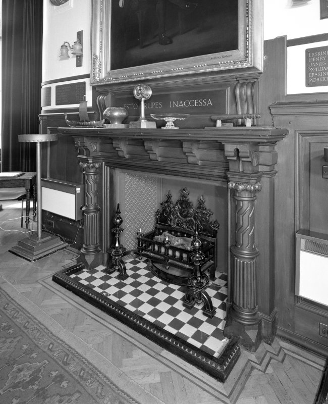 Interior. View of first floor Council Chamber fireplace
