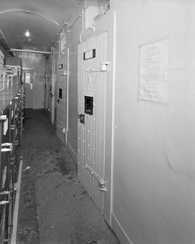 Interior. View of basement cells corridor