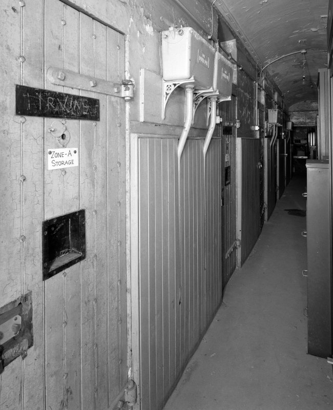Interior. View of sub basement cell corridor