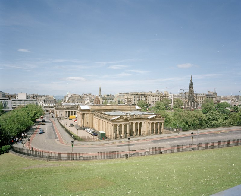 View from South showing the National Gallery of Scotland, the Royal Scottish Academy and Princes Street