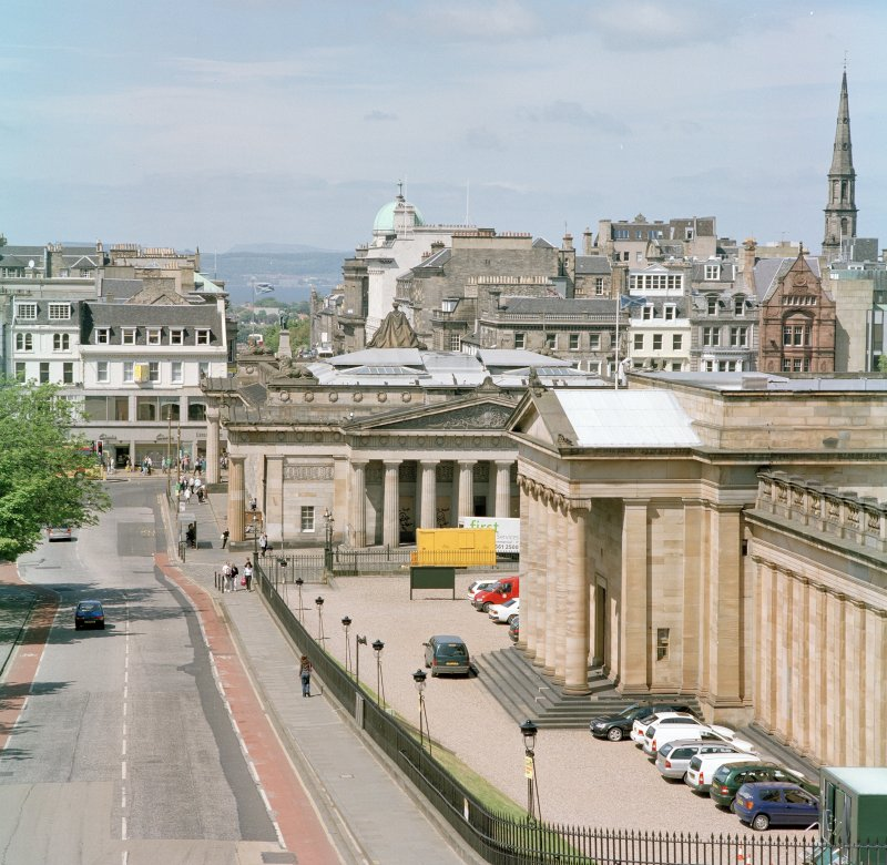 View from South showing the National Gallery of Scotland, the Royal Scottish Academy and Princes Street showing layout of roof