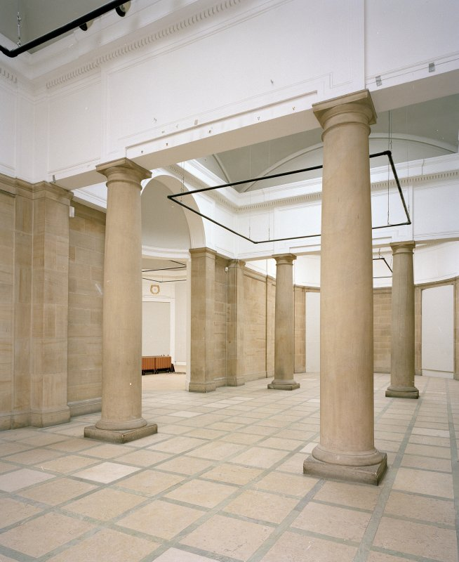 Interior. First floor view of Sculpture Court from East