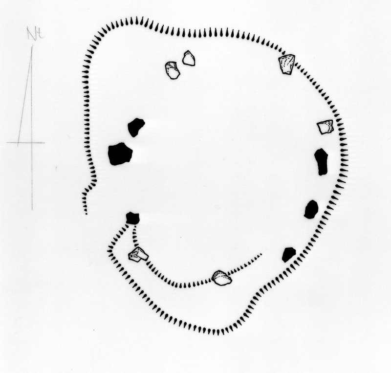 Plan of the Loupin' Stanes stone circle, redrawn for publication from DC 32357. HLS, [1996].