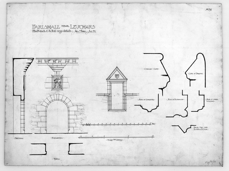"Entrance gateway with armorial panel - elevation & section 1"":2'; dormer window (with armorial panel) 1"":2'; Details 1/4 full size - jambs of door & dormer window, chimney copes, cope of parapet. Insc: 'John L Peddie. June 1901'"