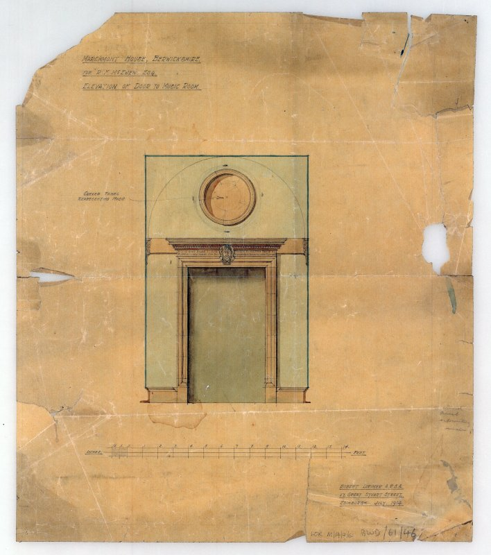 Elevation of door to music room, Marchmont House, for R F McEwen.