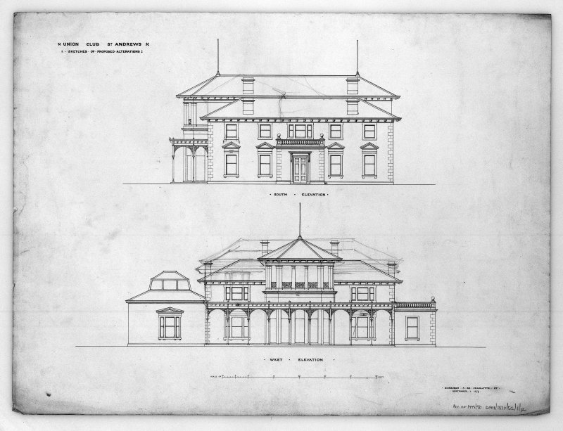 St Andrews, Golf Place, Royal and Ancient Club House. Photographic copy of elevations of additions and alterations.