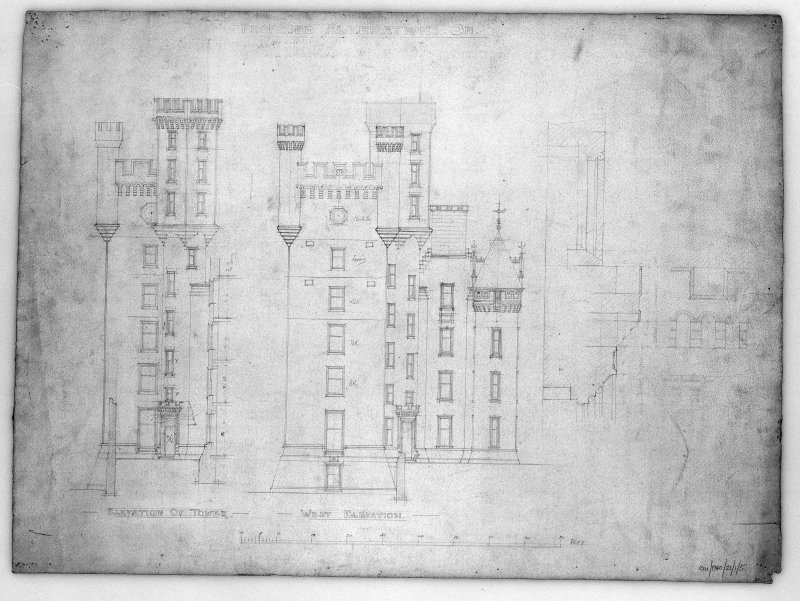 Photographic copy of elevations of tower showing alterations.