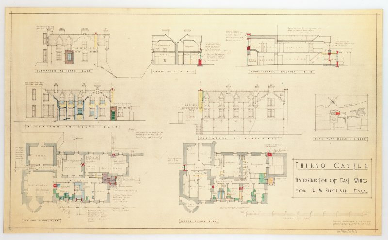 Photographic copy of plans, sections and elevations showing reconstruction of east wing for Mr R M Sinclair.