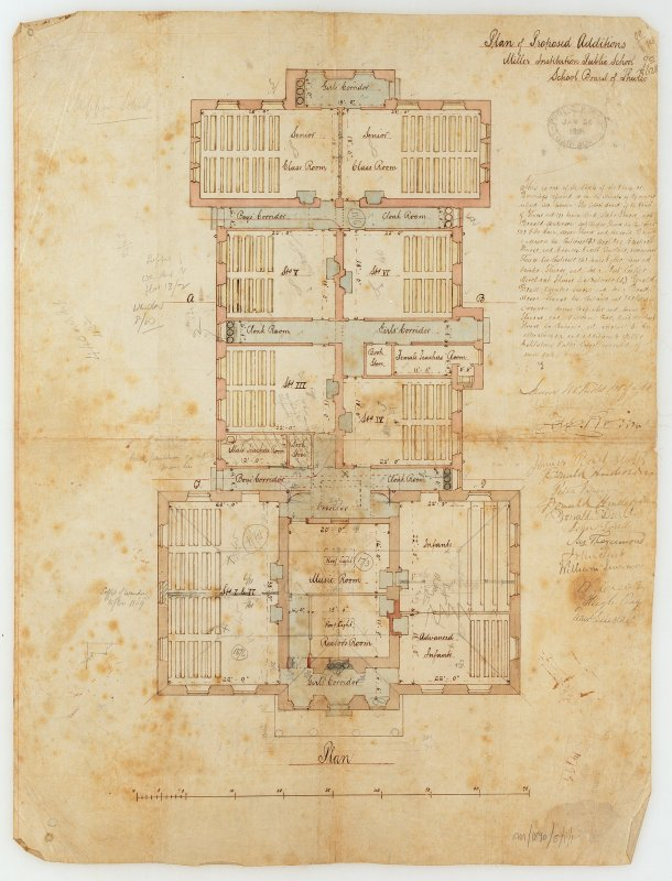 Photographic copy of plan of proposed additions.