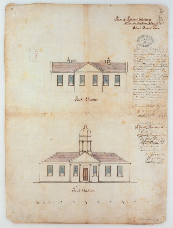 Photographic copy of elevations showing additions.