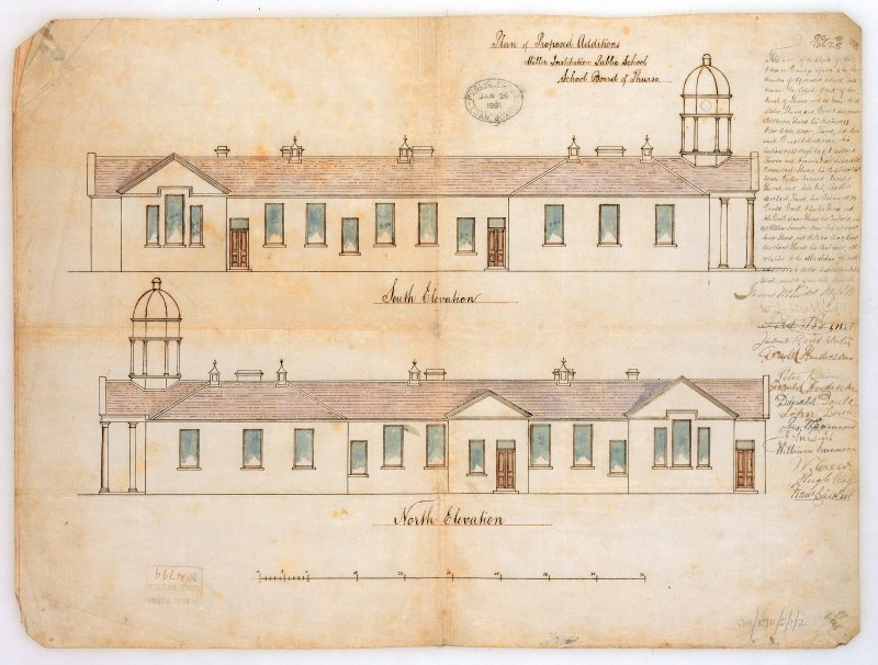 Photographic copy of North and South elevations showing additions.