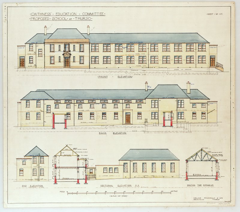 Photographic copy of heating plans, sections and elevations.