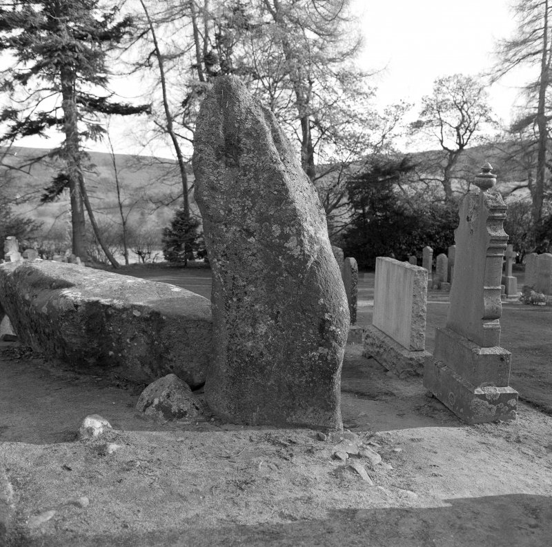 The inner face of the west flanker and recumbent stone, with the two putative kerbstones to their rear