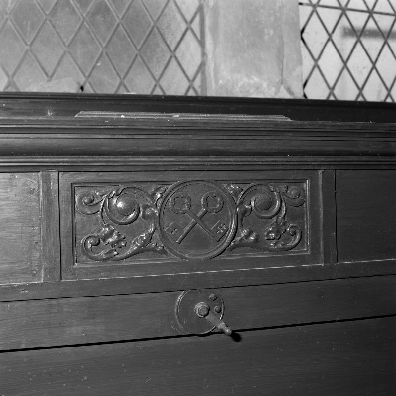 Detail of panelling with crossed keys (St Peter)