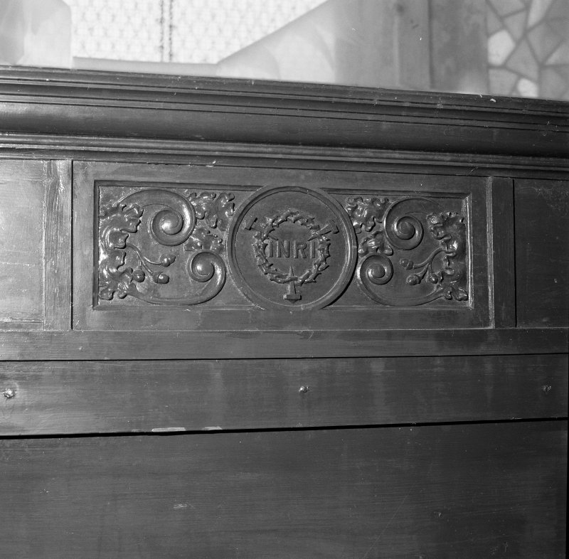 Detail of panelling with the crown of thorns
