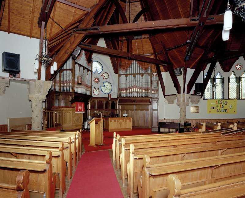 Interior. View from SE towards the pulpit and organ.