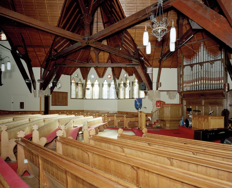 Interior. View from NE towards the pulpit and organ.