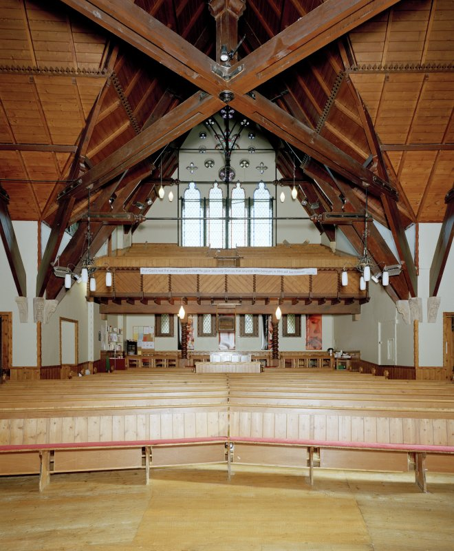 Interior. View from W showing the roof and gallery.