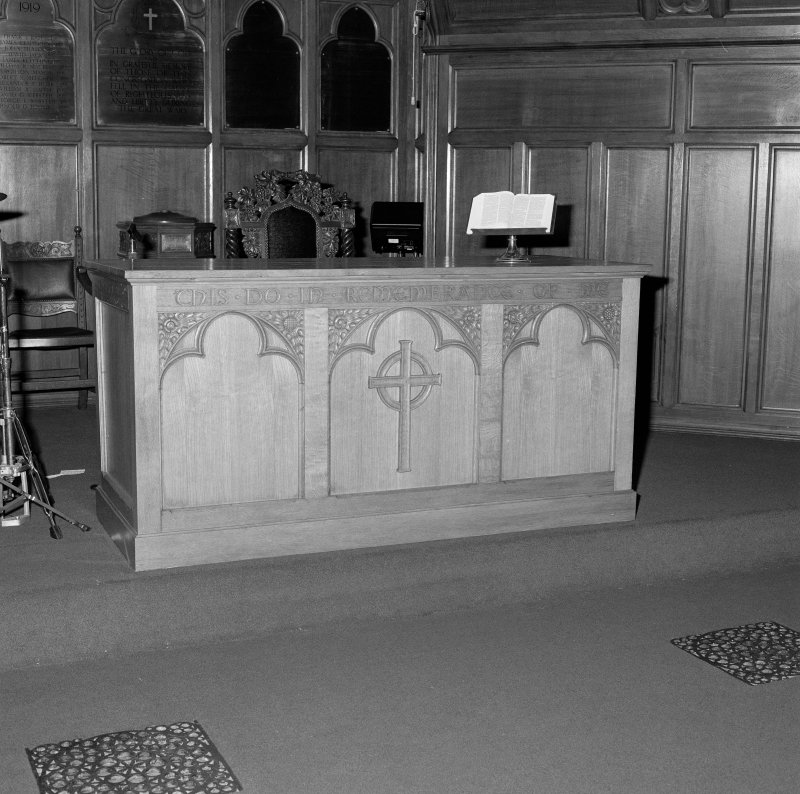 Interior. Detail of communion table.