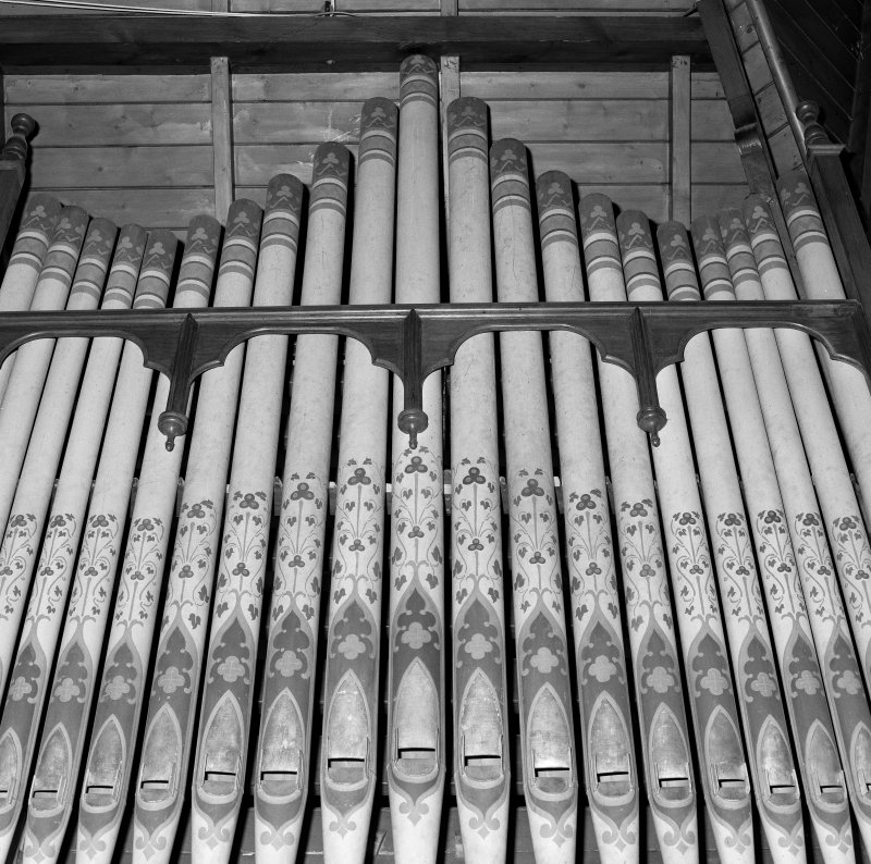 Interior. Detail of stencilled organ pipes.
