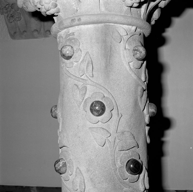 Interior. Detail of column with inset polshed stones.