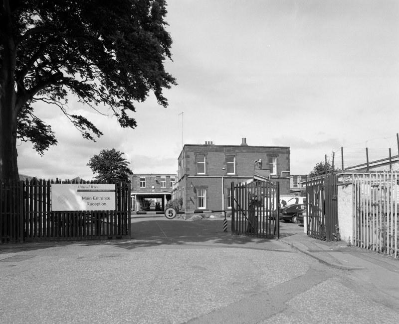 General view from E of main gate (from Granton Park Avenue), with offices (background right)