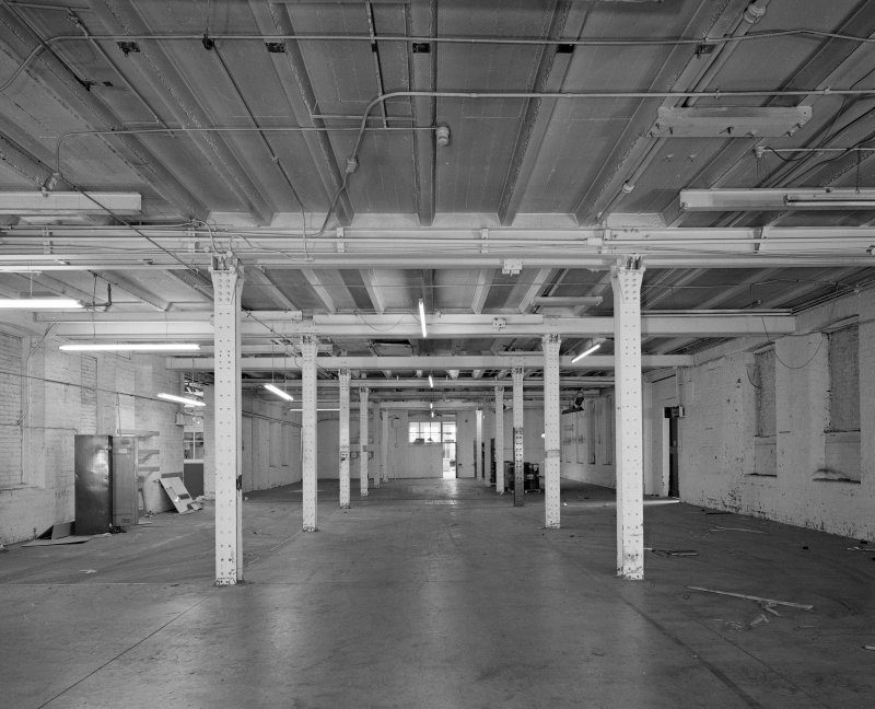 Interior.  Ground floor level of two-storeyed main block of works, used subsequently for broadloom weaving of wire cloth